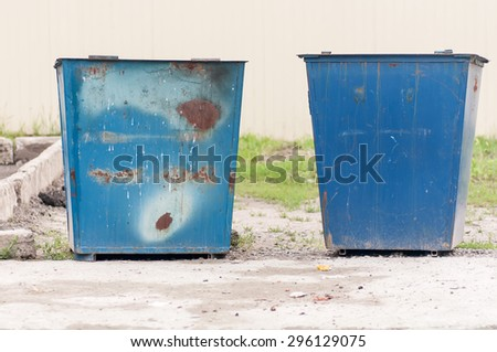 old metal trash cans blue - stock photo