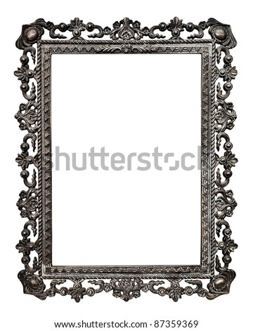 Old metallic picture frame  (No#13), isolated on white background - stock photo