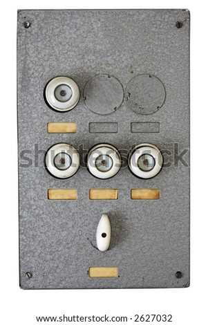 stock photo old metallic wall mounted fusebox with blank labels 2627032 old residential fuse box wiring diagram shrutiradio old fuse box problems at edmiracle.co