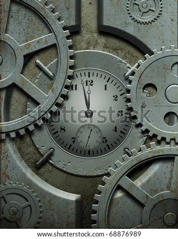 Old metallic watch with gears - stock photo