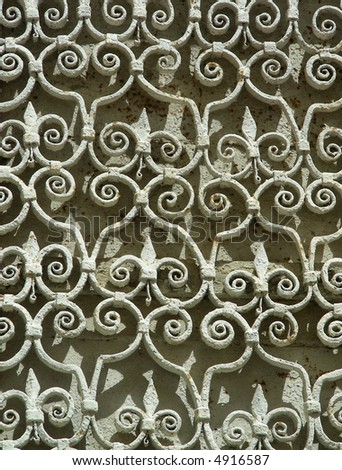 Old metallic white grating at Dubrovnik, Croatia - stock photo