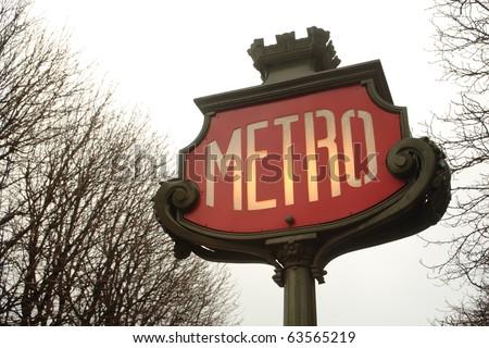 Old Metro sign in Paris - stock photo