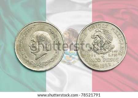 old mexican coin - stock photo