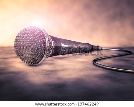 Old microphone illustration - stock photo