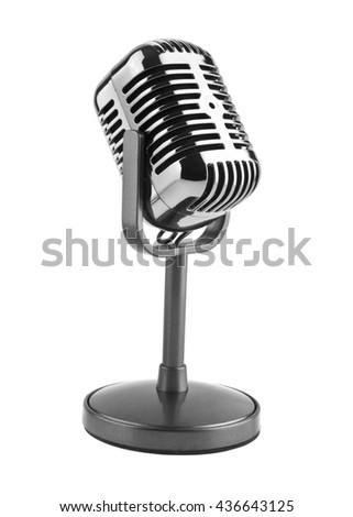 old microphone isolated on white background closeup