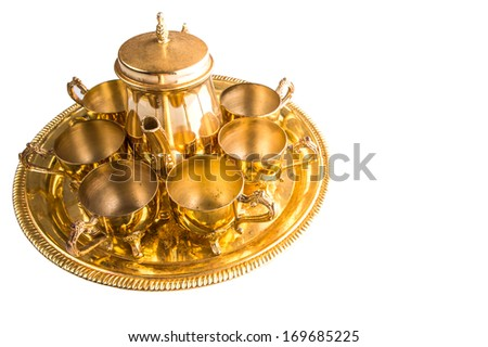 Old Middle Eastern tea set over white background