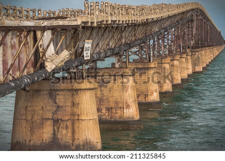 Old 7 mile bridge in Florida - stock photo