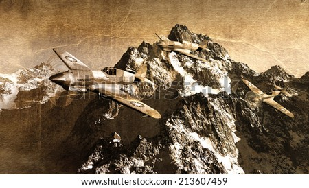 old military airplane, vintage background - stock photo