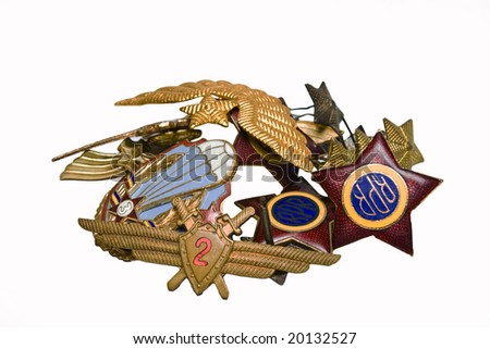 old military badges - stock photo