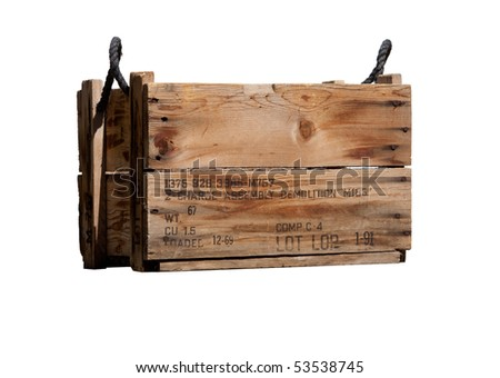 Old military C-4 plastique explosive demolition charge carrying crate - stock photo