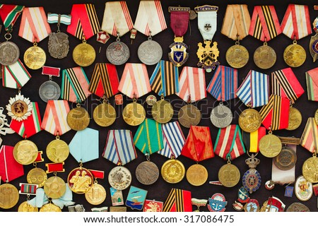 Old military medals collection - stock photo
