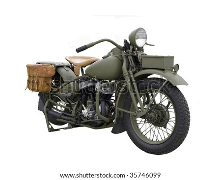 OLD MILITARY MOTOR BIKE - stock photo