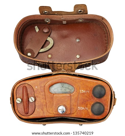 Old military radiation meter (geiger counter) in leather case. Clipping path included. - stock photo