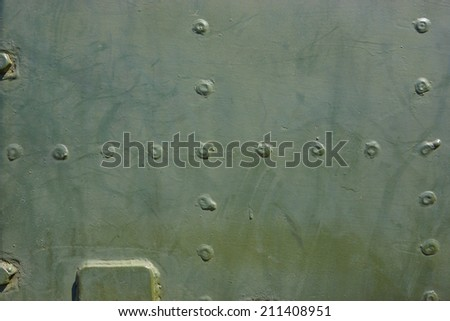 Old military tank texture - Russian heavy military armored artillery - stock photo