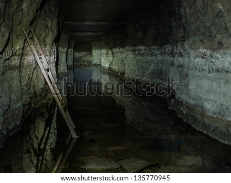 Old military tunnel. Peter the Great's Naval Fortress. - stock photo