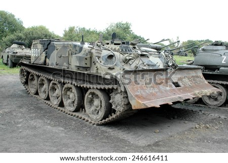 Old military vehicles in museum - stock photo