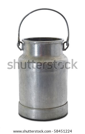 old milk can isolated on white background - stock photo