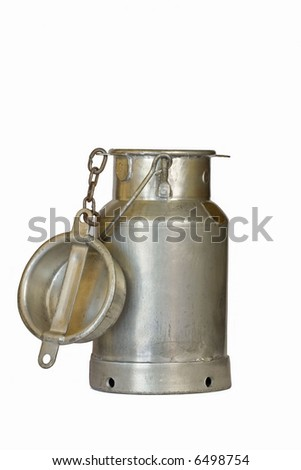Old milk churn against white background
