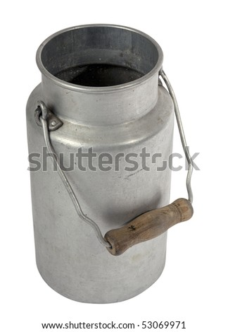 old milk jug isolated perspective view - stock photo