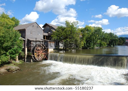 Old Mill on the river at Pigeon Forge Tennessee - stock photo