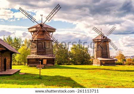 Old mills in ancient town of Suzdal. Golden Ring of Russia. - stock photo