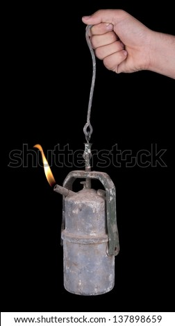 Old mine carbide lamp - stock photo