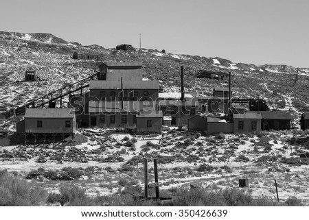 Old mine in black and white, Bodie, California, USA. - stock photo