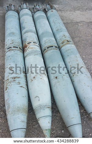 Old missiles in Balaklava Naval museum submarine complex in Crimea, Russia.  - stock photo