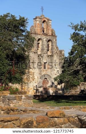 Old Mission Espada in San Antonio, Texas - stock photo