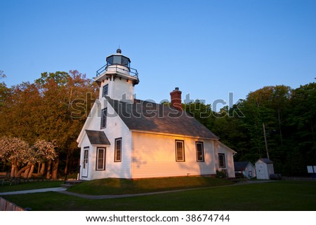 Old Mission Point Lighthouse in Michigan at Dusk - stock photo