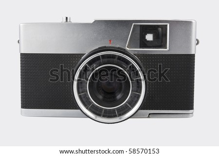 Old 35mm film photo camera on white background