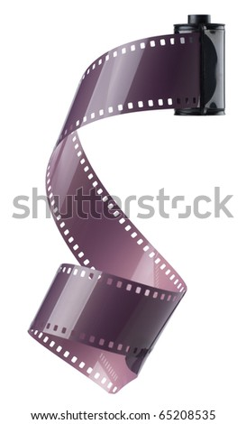 Old 35mm film with film spiralling out - stock photo