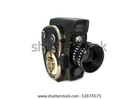 Old 8mm movie-camera on white background - stock photo
