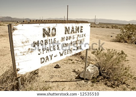 Old Mobile Home Park Sign By Pearsonville Californiausa