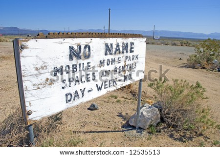 Old mobile home park sign by pearsonville california.usa