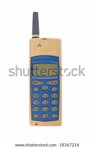 Old mobile phone isolated on white background - stock photo