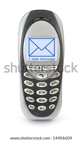 old mobile phone with SMS on screen  little bits of dust visible on the phone, minimal natural shadow in front - stock photo