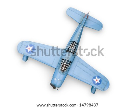 Old model fighter metal toy. Isolated on white.