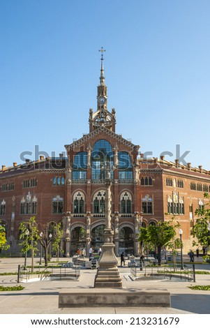 Old modernistic hospital de Sant Pau, Barcelona, Spain - stock photo