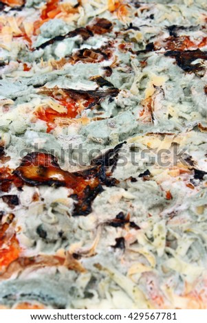 Old moldy pizza background vertical. Food poisoning - stock photo