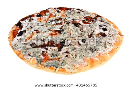 Old moldy pizza on a white background. Food poisoning - stock photo
