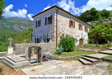 Old monastery building from the Adriatic sea area, Montenegro - stock photo