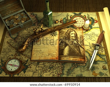 Old money and weapons on the vintage map - stock photo