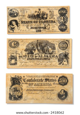 Old money bank notes from the United States - stock photo