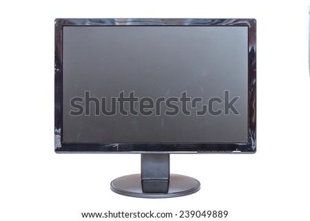 Old monitor isolated on white background - stock photo