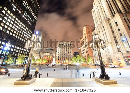 Old Montreal street view with historical buildings  - stock photo