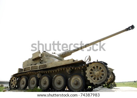 Old monument of AMX13, a medium French tank . Israel. - stock photo