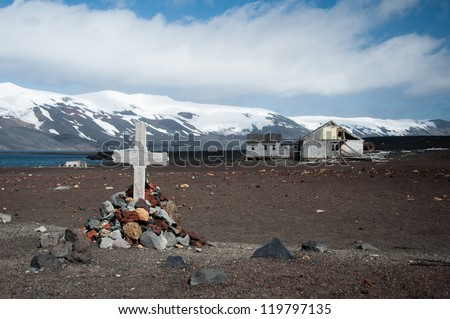 Old monument on the Deception island, Antarctica - stock photo