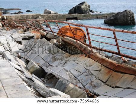 Old moorage on Black sea. Crimea, Ukraine. - stock photo