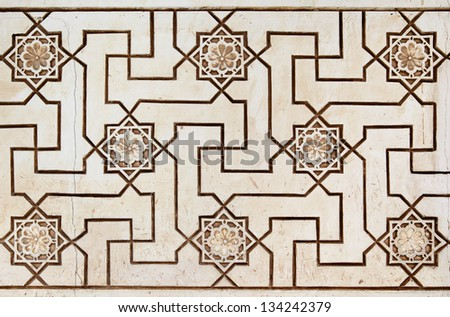 Old moorish stone carving close-up (14th century) - stock photo